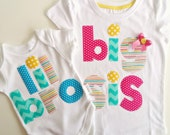 Big Sister Little Brother Tshirt and Bodysuit Set for Birth Announcment, Photo Shoot, Baby Gift