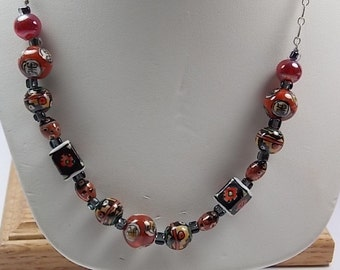 Cloisonne Bead Necklace 22 inches Sterling Chain Chinese Symbols