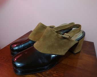 8 M 1970s Two Tone Platform Slingback Block Heel Shoes