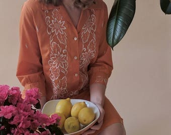1960s Orange Embroidered Button Up Shirt Dress Made in Philippines