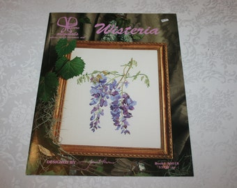 Cross Stitch Instructions Wisteria Flower Floral Designed by Janet Powers