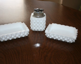 Vintage Fenton White Milk Glass Lighter and Two Ashtray Set Romantic Cottage Chic