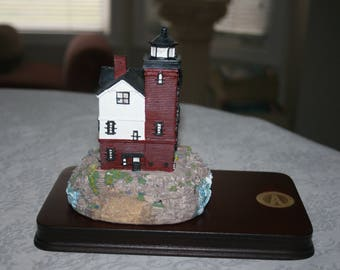 Vintage Spencer Collins Lighthouse 1984 Round Island Lighthouse Straits of Mackinac St Ignace Michigan Great Lakes