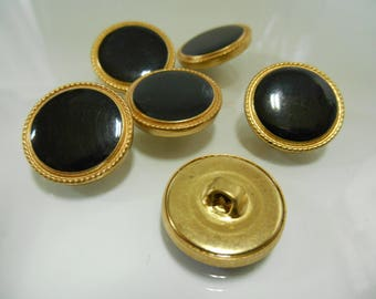 10   buttons -  black and gold - 19mm- shank