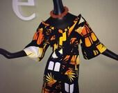 Size Large Vintage Hawaiian Dress Tiki Oasis 1960s 1970s Hukilau Fashions 60s 70s Orange Barkcloth Bark Cloth Sunset Beach Hippie Boho Surf