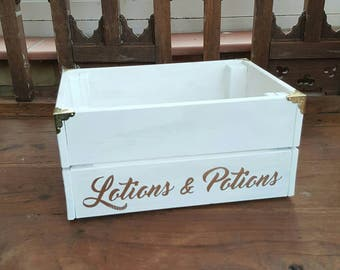 Lotions Potions Box Wooden Crate Rustic Bathroom Storage Gift for Mum Make Up Cosmetics Storage Mother's Day Gift