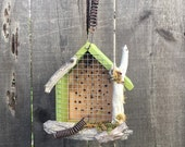 Rustic Mason Bee House With Natural Driftwood & Bark, Bee Cozy Hotel For Bees To Pollinate Flowering Gardens// Leaf Cutter House//Item#52188