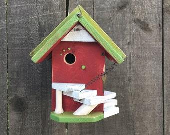 Red Birdhouse Functional For Garden Birds, Birdhouses Outdoor Gardening Tools, Bird Supply, Rustic Bird Houses, Item #264621619