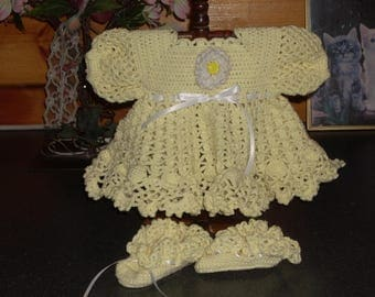 Yellow Crocheted Baby Dress - 3 months