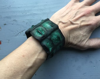 Gothic Green/Black Exotic Crocodile Cuff Bracelet
