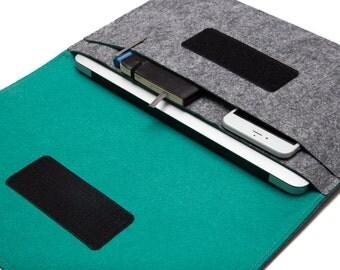 "13 inch MacBook Pro Slim Sleeve, 12"" Macbook Protective Case, Laptop Carrying Case. Grey & Teal"