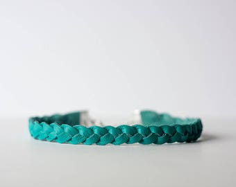 Braided Leather Choker / Necklace / Bright Turquoise