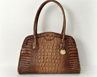 Vintage Brahmin Tote Faux Croco Textured Large Leather Purse Brown Tote Bag
