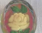 VINTAGE glass cabochon FOIL rose ornate 18x25mm (1) rainbow