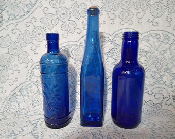 Cobalt Blue Decorative Bottles