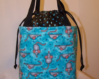"Turquoise Blue Insulated Drawstring lunch bag, 4'by 7"" Small purse, Cosmetic case, insulated lunchbox, fabric Lunch cooler, food tote"