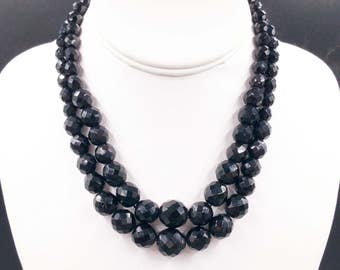 Double Strand Black Glass Necklace, Vintage Graduated Size Glass Bead Choker with Decorative Clasp Faceted Beads