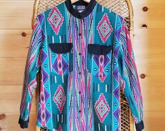 90s Vintage Southwestern Button Up Top//Size Small