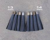 Dark Gray (Charcoal Gray)  Nubuck Leather TASSEL in 13 or 14mm Cap -4 colors Plated Cap- Pick cap size, cap color