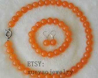 jade set -12mm orange jade necklace stretch bracelet & earrings set