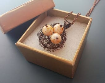 Gift for women, wire jewelry, contemporary jewelry, statement necklace, copper wire, artistic jewelry, Bird's nest