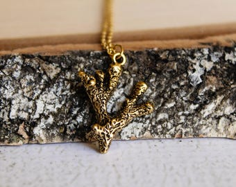 Coral Necklace in Antiqued Gold
