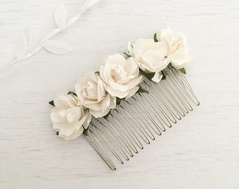 Pretty white paper roses hair comb - bridal accessories - flower girl - wedding