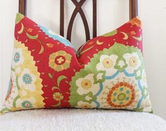 Red suzani pillow cover, throw pillow, accent pillow, lumbar pillow, cushion cover, 12x18 P.Kaufman Suzani Red, orange, green, yellow, aqua