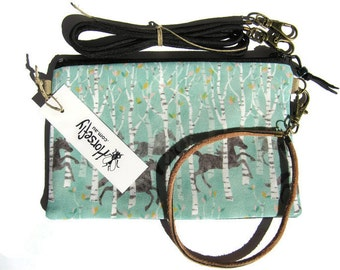 NEW Horse herd in the forest bag pouch wristlet handmade in Australia Horsefly