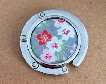 Foldable Portable handbag hanger Glass sealed beautiful Japanese chiyogami paper w gift envelope