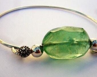 Sterling Silver Cuff Bracelet, Gemstone Cuff Bracelet, Flourite Cuff Bracelet, Chic Bracelet, Green gemstone bracelet