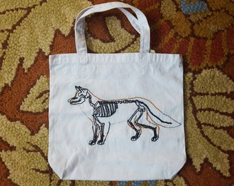 Hand Embroidered white Fox tote bad