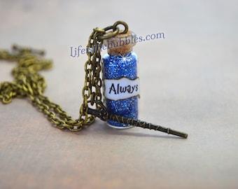 Harry Potter Always Necklace  Wand Charm, Harry Potter Jewelry, Severus Snape Patronus, Doe Potterheads, J.K. Rowling, Harry Potter Cosplay