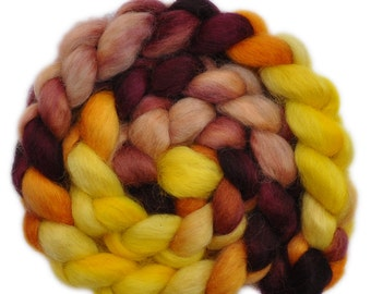 Hand painted wool roving - Wensleydale wool combed top spinning fiber - 4.0 ounces - Goldfinch