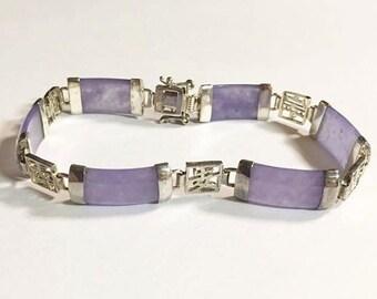 Vintage Sterling Silver Lavender/Purple Jade Panel Bracelet