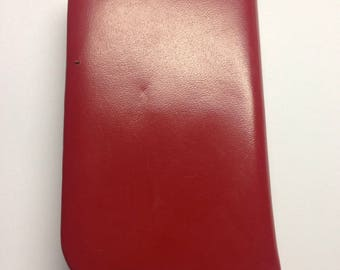 Manicure Set Red Leather  Vintage Made in Germany Top Grain Cowhide