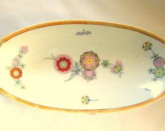 "Vintage PM Bavaria 10"" Oval Handled Porcelain Relish TRAY with flower pattern"