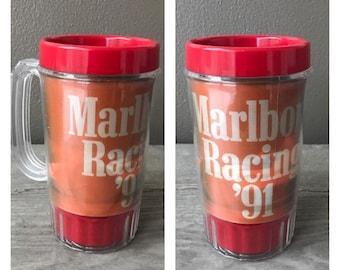 Vintage 90s MARLBORO Plastic Mug - Marlboro Racing 91