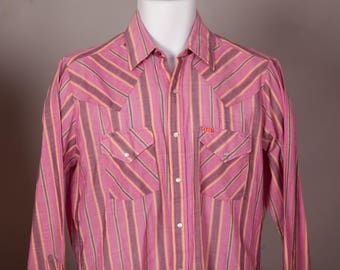 Vintage Men's Country Western Style Cowboy Button Down Shirt - ELY PLAINS - pink yellow - pearl snap button