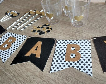 Baby Shower Decorations, Black And Gold Baby Shower, Party In A Box, Neutral