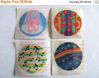 SALE Lot of Four Vintage Russ Dazzlers Stickers - 80's Heart Rainbow Ballet Shoe Ballerina Star Musical Music Note