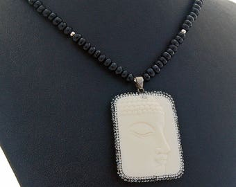 Bone Buddha Black Onyx Handmade Designer Necklace