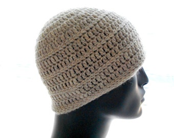Men's Wool Hat, Crochet Beanie Hat, Texture Stripes, Undyed Natural Color Hat, Small Size Hat
