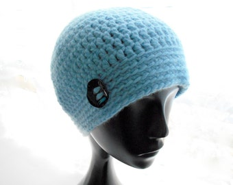 Upcycled Cashmere Hat, Women's Crochet Beanie, Sky Blue Cashmere Beanie, Eco Fashion, Small to Medium Size