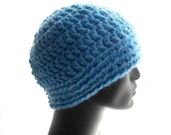 Men's Crochet Hat, Wool - Blend Beanie Hat, Light Blue Hat, Medium Size