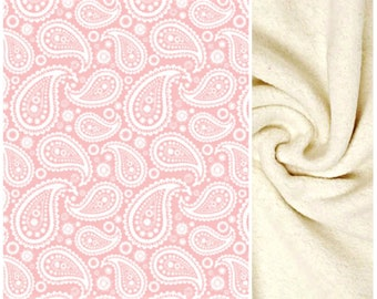 Baby Blanket, White Paisley on Pink, GOTS Certified Organic Cotton, Doublesided with Thick Plush Organic Cotton Minky Sherpa, 27 X 35 inches