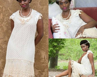 Crochet and lace dress, vintage dress, upcycled flapper, crochet trim, satin slip made for dress, size xl 12 , shabby chic bride, OOAK retro