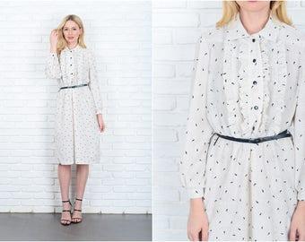 Vintage 80s White + Black Retro Dress Polka Dot Paisley Ruffle Tuxedo Slouchy M 9355