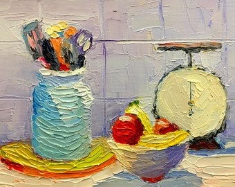 Scale and Things Small Still Life Oil Painting on Canvas