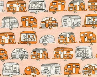 Orange and Metallic Camper Trailers  from Robert Kaufman's On The Road Metallic Collection